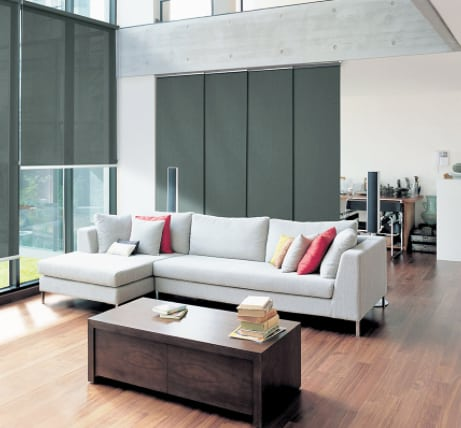 panel glide blinds featured in a modern living room